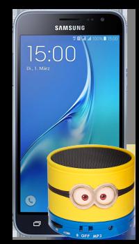 Samsung Galaxy J3 + parlante Minions