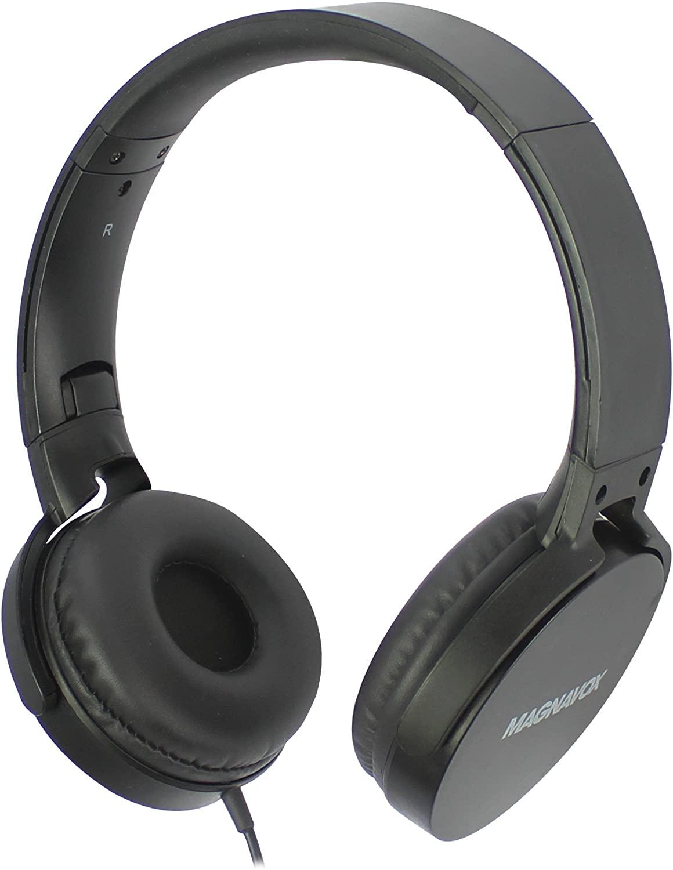 Magnavox Audifono DJ Cable, vincha con diseño plegable, microfono MHP5026BLK Negro
